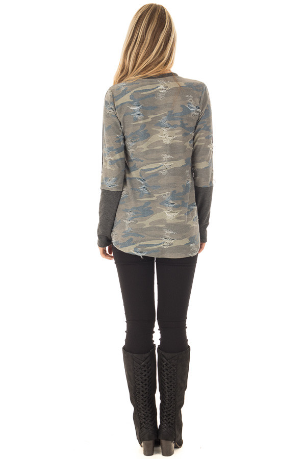 Charcoal Long Sleeve Distressed Top with Camo Contrast back full body