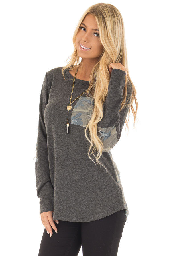Charcoal Long Sleeve Distressed Top with Camo Contrast front closeup
