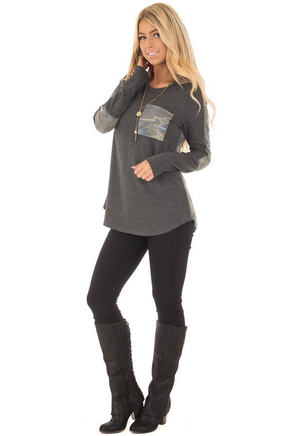 Charcoal Long Sleeve Distressed Top with Camo Contrast front full body