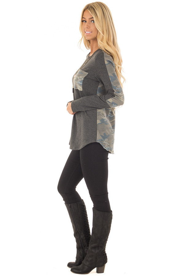 Charcoal Long Sleeve Distressed Top with Camo Contrast side full body