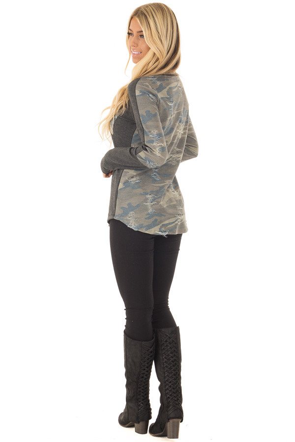 Charcoal Long Sleeve Distressed Top with Camo Contrast over the shoulder full body