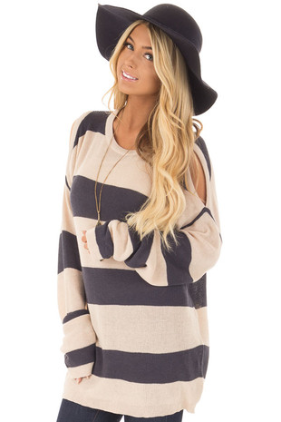 Navy and Taupe Striped Cold Shoulder Sweater front closeup