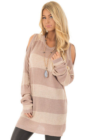 Taupe Striped Cold Shoulder Sweater front closeup