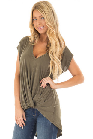 Olive Short Sleeve Hi Low Top with Twist Front Detail front closeup