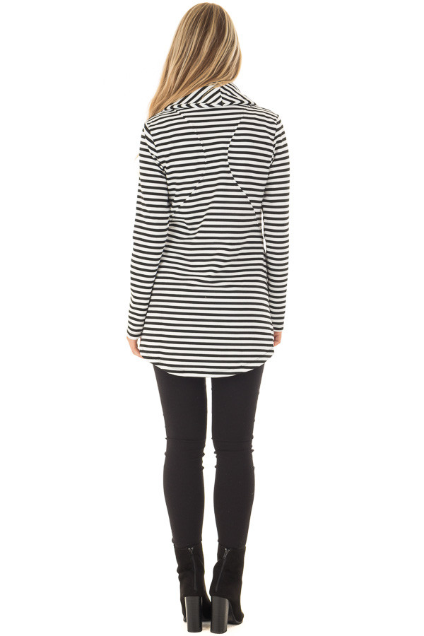 Black and White Striped Comfy Jacket with Seam Details back full body