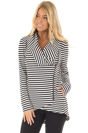 Black and White Striped Comfy Jacket with Seam Details front closeup