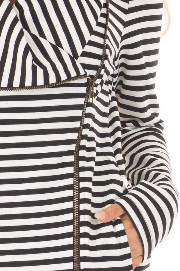 Black and White Striped Comfy Jacket with Seam Details front detail