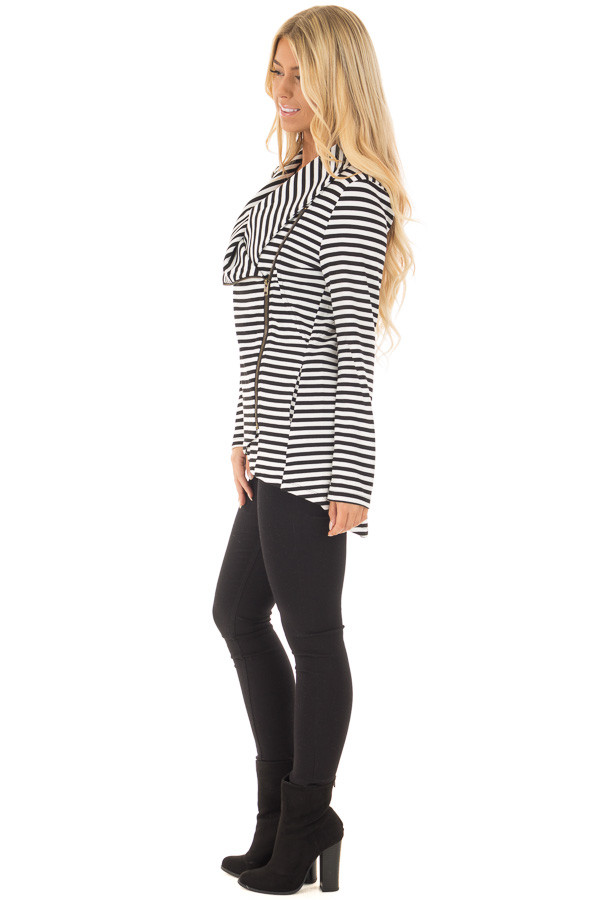 Black and White Striped Comfy Jacket with Seam Details side full body