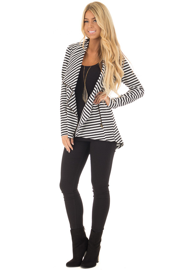 Black and White Striped Comfy Jacket with Seam Details front full body