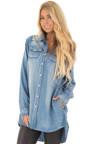 Light Denim Chambray Tunic Button Down Top front closeup