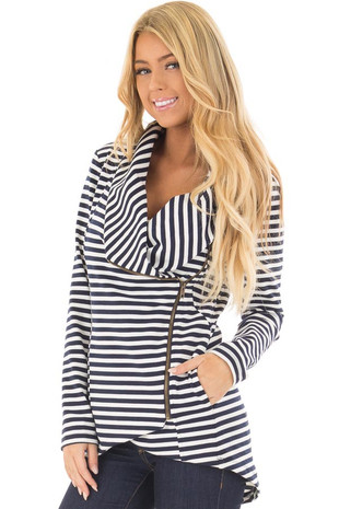 Navy and White Striped Asymmetrical Zipper Jacket front closeup