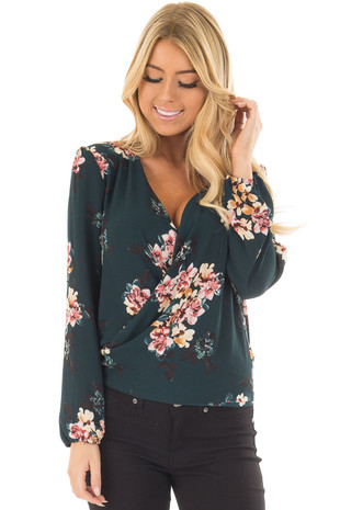 Dark Green Floral Print Long Sleeve Top with Front Wrap front closeup