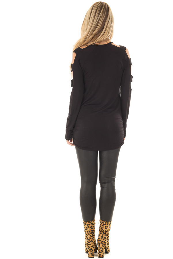 Black Ladder Cut Out Long Sleeve Top with Cinched Sides back full body