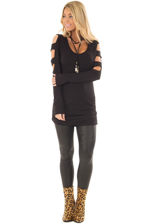 Black Ladder Cut Out Long Sleeve Top with Cinched Sides front full body