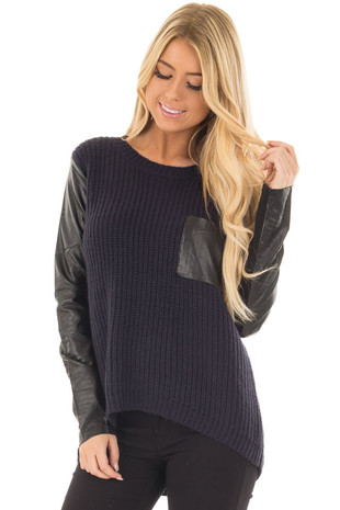 Navy Long Sleeve Sweater with Black Faux Leather Details front closeup