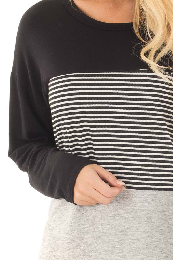 Black and Heather Grey Striped Long Sleeve Top front detail