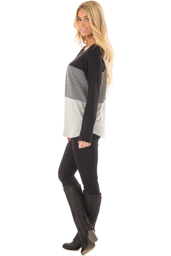 Black and Heather Grey Striped Long Sleeve Top side full body