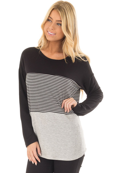 Black and Heather Grey Striped Long Sleeve Top front closeup