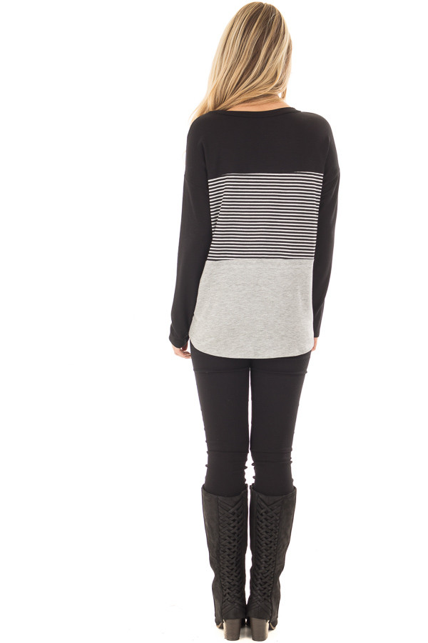 Black and Heather Grey Striped Long Sleeve Top back full body