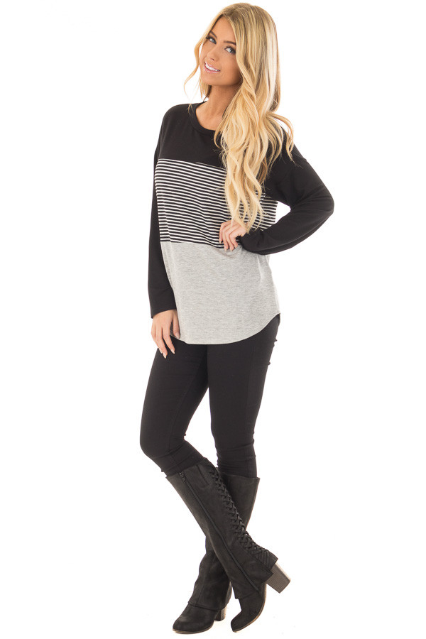 Black and Heather Grey Striped Long Sleeve Top front full body