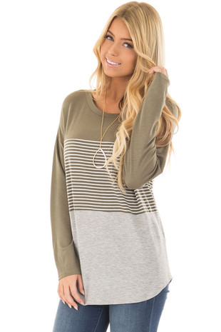Olive and Heather Grey Striped Long Sleeve Top front closeup