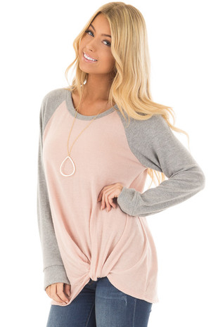 Blush and Heather Grey Long Sleeve Top with Front Tie front closeup