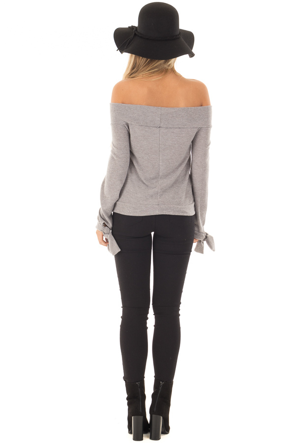 Heather Grey Off the Shoulder Long Sleeve Top back full body