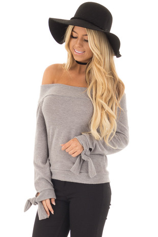 Heather Grey Off the Shoulder Long Sleeve Top front closeup
