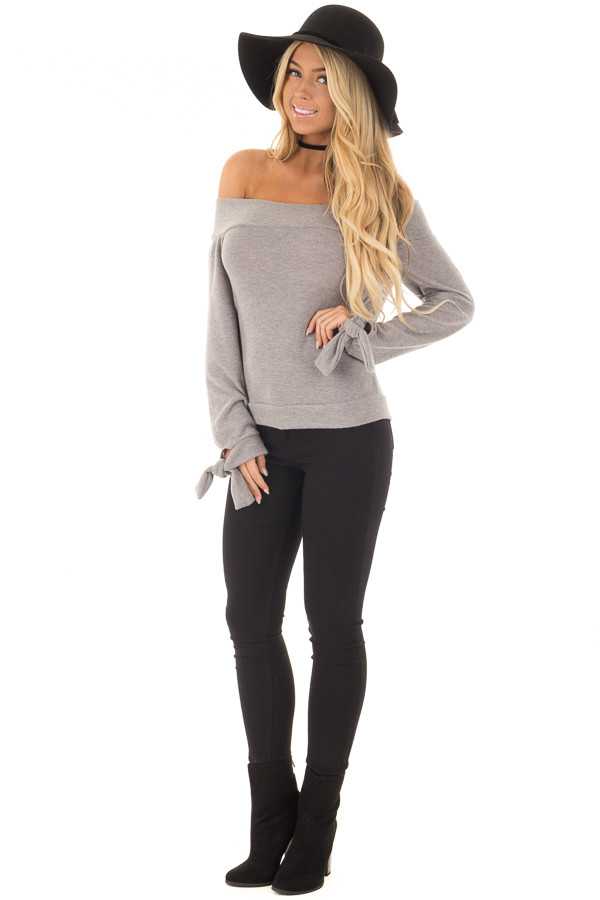 Heather Grey Off the Shoulder Long Sleeve Top front full body