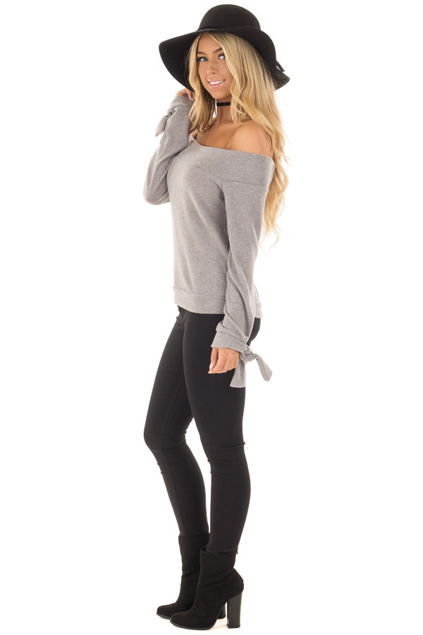 Heather Grey Off the Shoulder Long Sleeve Top side full body