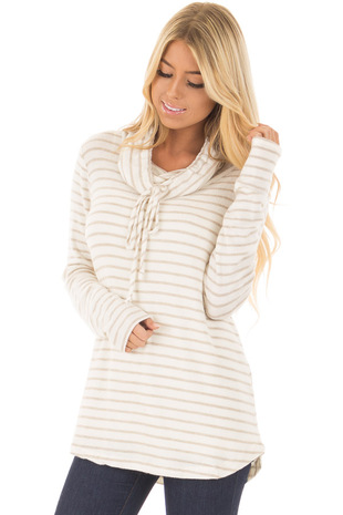 Oatmeal and Ivory Soft Striped Cowl Neck Top with Drawstrings front closeup