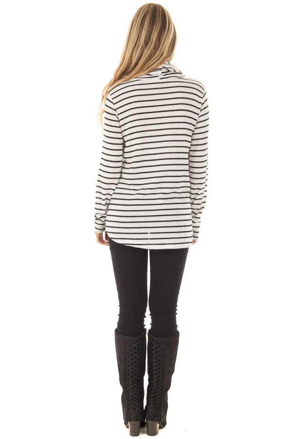 Black and Ivory Soft Striped Cowl Neck Top with Drawstrings back full body
