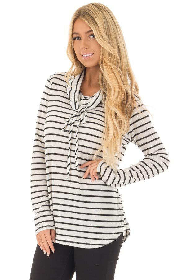 Black and Ivory Soft Striped Cowl Neck Top with Drawstrings front closeup