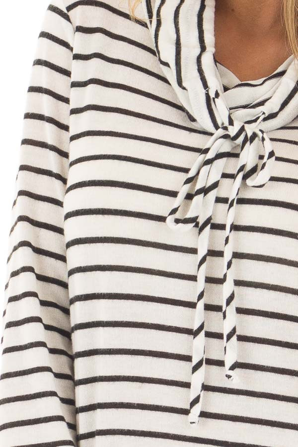 Black and Ivory Soft Striped Cowl Neck Top with Drawstrings front detail