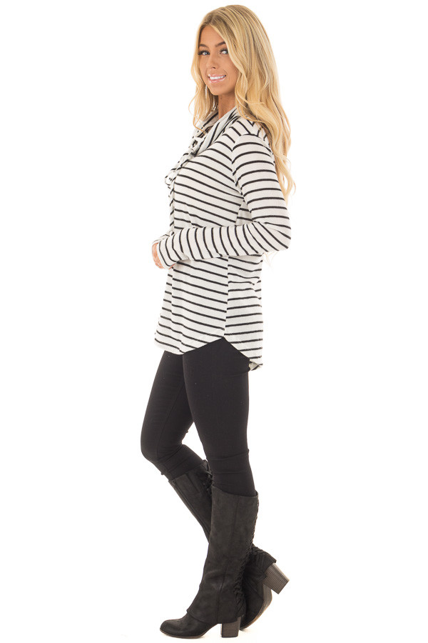 Black and Ivory Soft Striped Cowl Neck Top with Drawstrings side full body