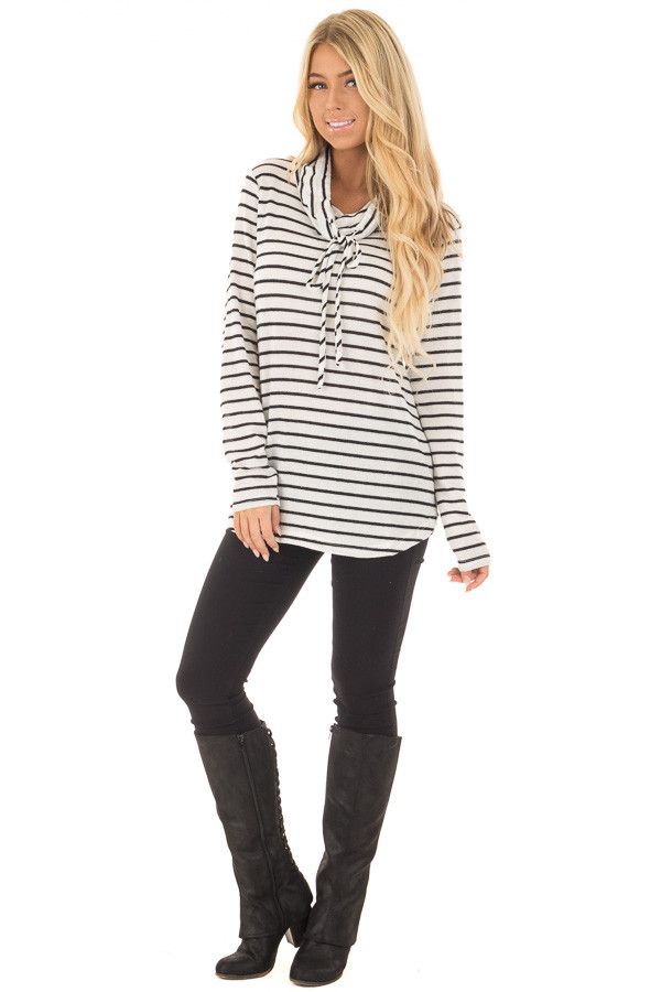 Black and Ivory Soft Striped Cowl Neck Top with Drawstrings front full body