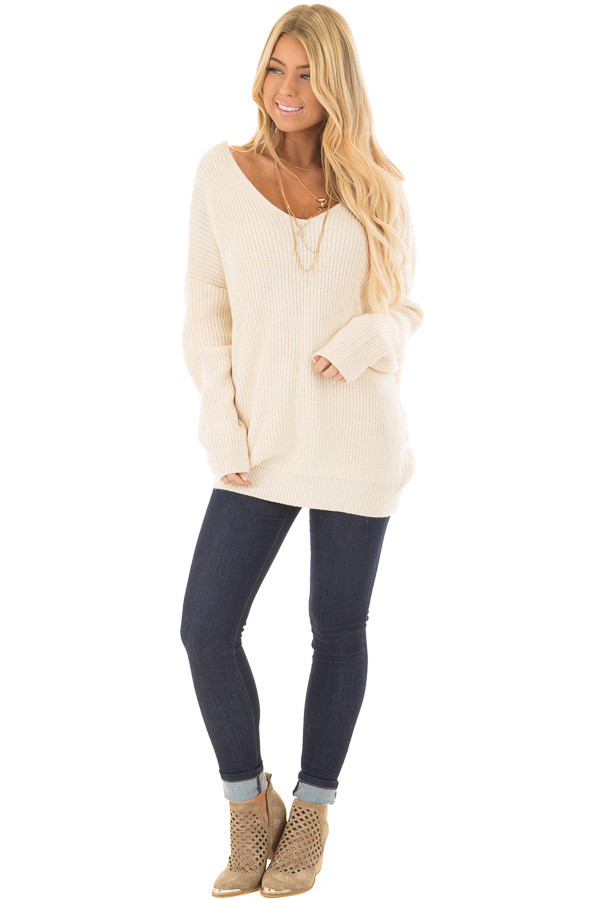 Ivory Long Sleeve Oversized Sweater with Back Twist Detail front full body