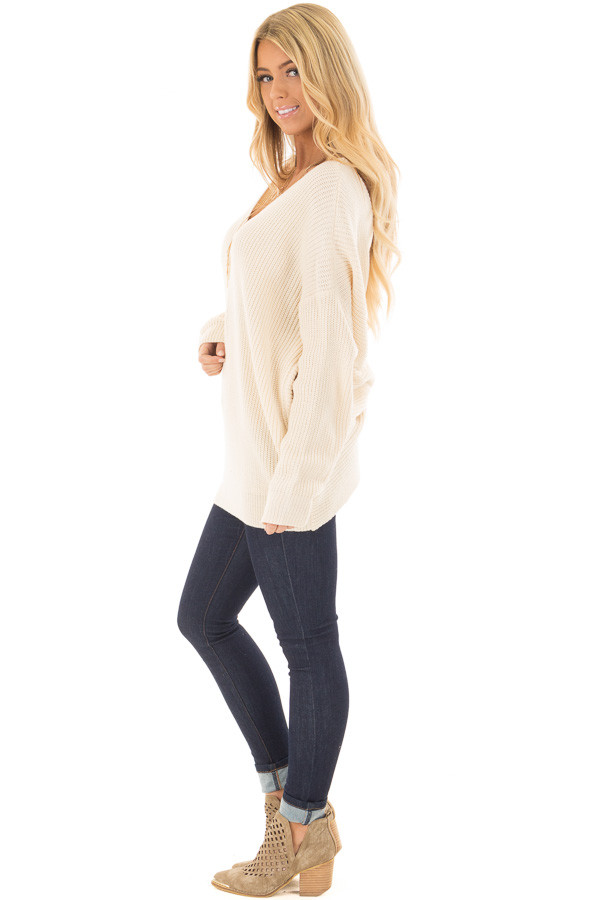 Ivory Long Sleeve Oversized Sweater with Back Twist Detail side full body