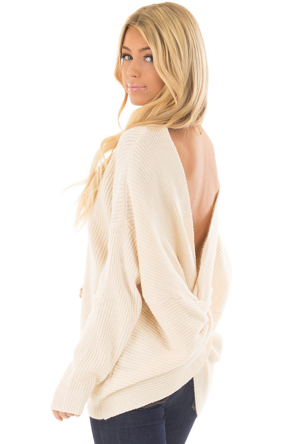 Ivory Long Sleeve Oversized Sweater with Back Twist Detail front closeup