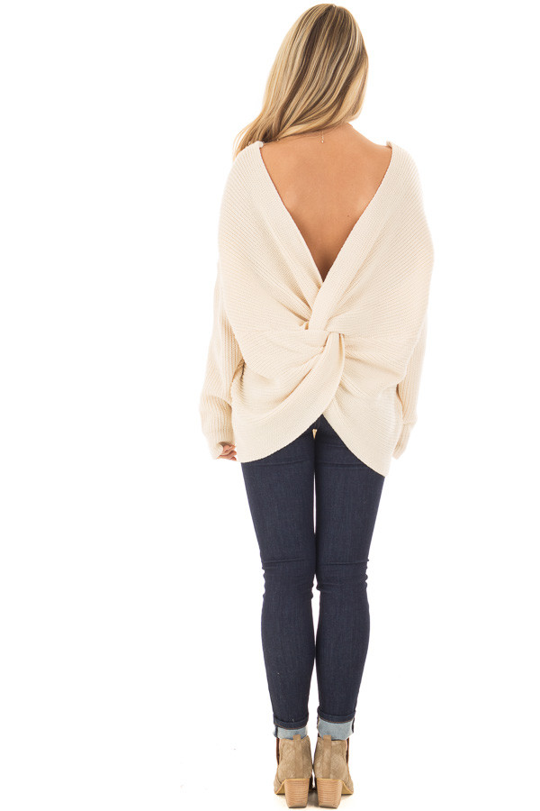 Ivory Long Sleeve Oversized Sweater with Back Twist Detail back full body