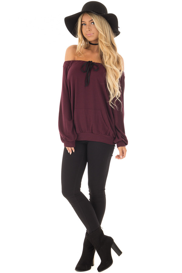 Burgundy Off the Shoulder Top with Kangaroo Pocket front full body