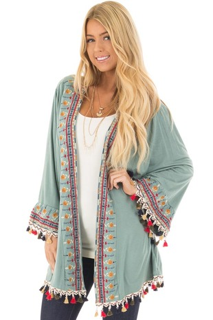 Sage Cardigan with Embroidery and Tassel Details front closeup