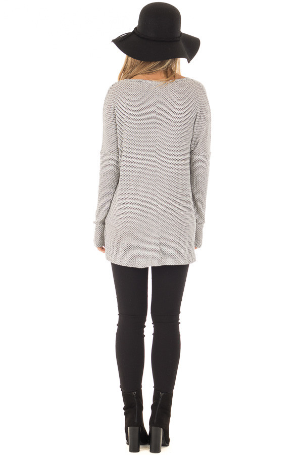Ivory and Black V Neckline Top with Stitching in Center back full body