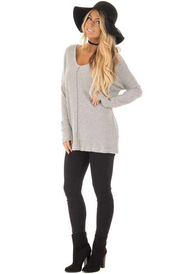 Ivory and Black V Neckline Top with Stitching in Center front full body