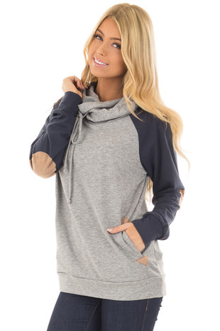 Heather Grey Pullover Hoodie with Navy Raglan Sleeves front closeup