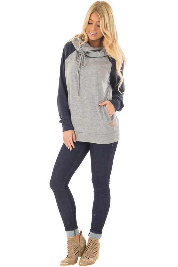 Heather Grey Pullover Hoodie with Navy Raglan Sleeves front full body