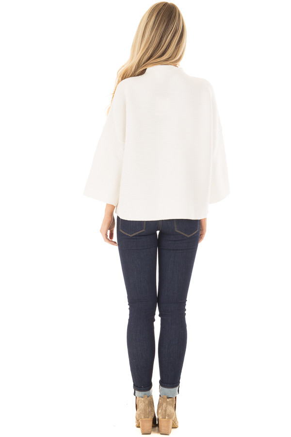 Ivory Ribbed Knit Sweater back full body