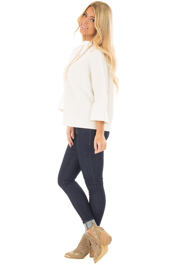 Ivory Ribbed Knit Sweater side full body