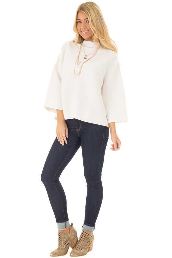 Ivory Ribbed Knit Sweater front full body