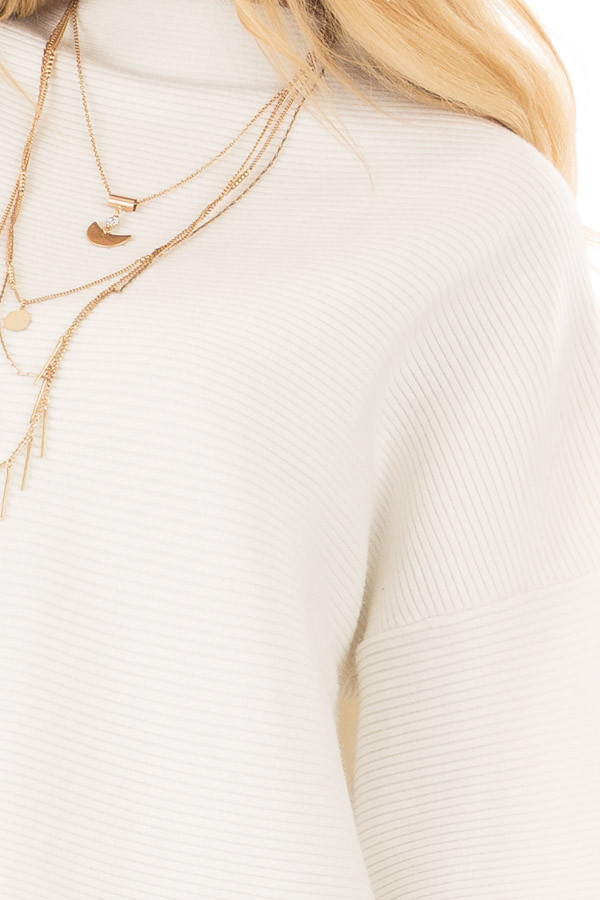 Ivory Ribbed Knit Sweater front detail